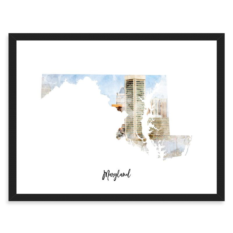 Maryland Watercolor Map Print - Unframed Art Print-Daily Steals