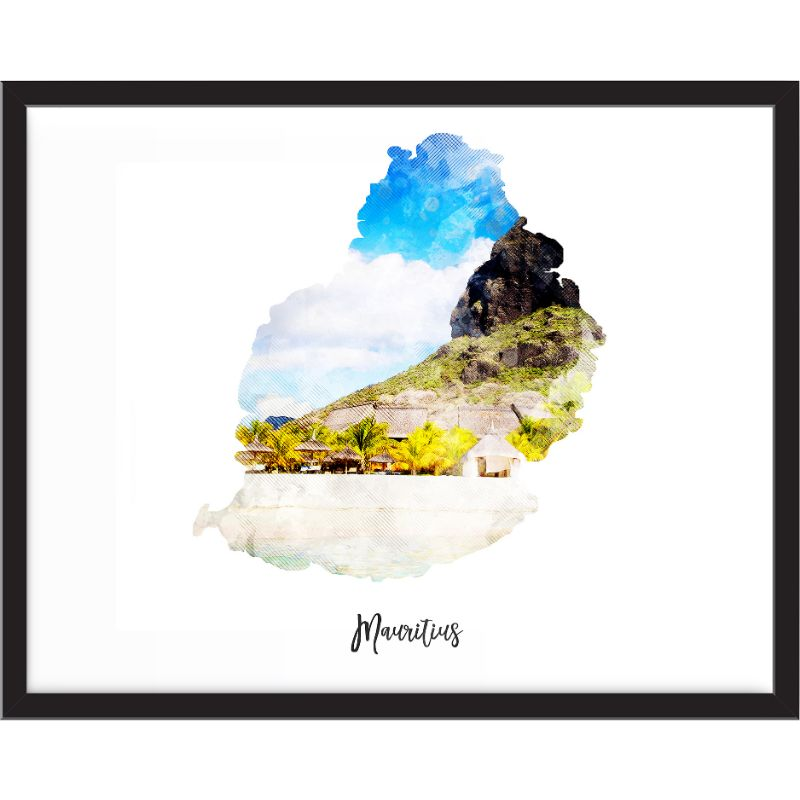 Mauritius Watercolor Map Print - Unframed Art Print-Daily Steals