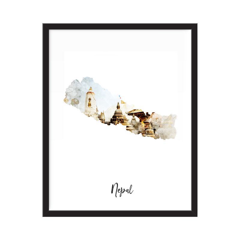 Nepal Watercolor Map Print - Unframed Art Print-Daily Steals