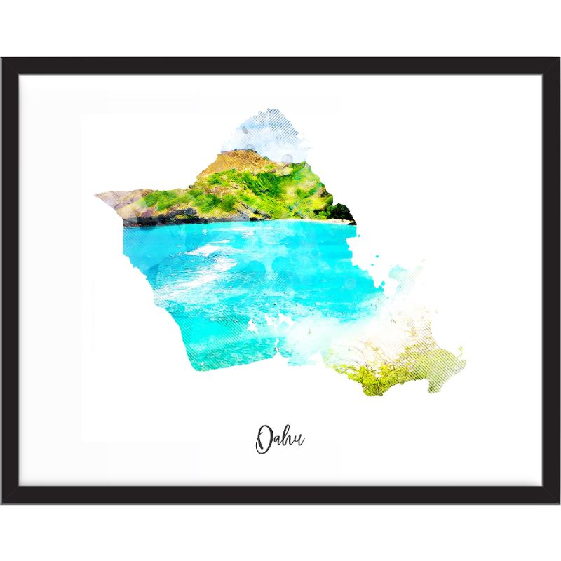 Oahu Watercolor Map Print - Unframed Art Print-Daily Steals
