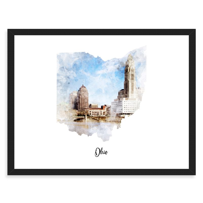 Ohio Watercolor Map Print - Unframed Art Print-Daily Steals