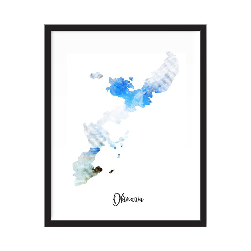 Okinawa Watercolor Map Print - Unframed Art Print-Daily Steals