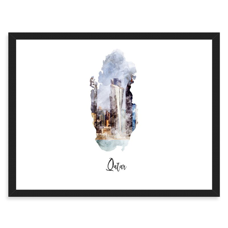 Qatar Watercolor Map Print - Unframed Art Print
