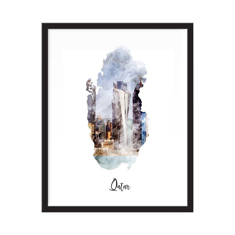 Qatar Watercolor Map Print - Unframed Art Print-Daily Steals