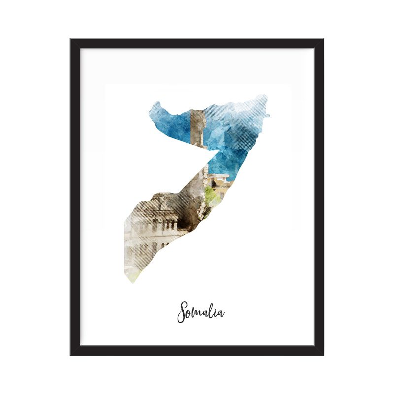 Somalia Watercolor Map Print - Unframed Art Print