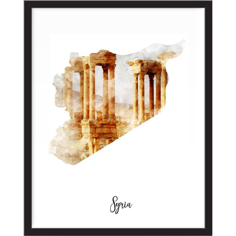 Syria Watercolor Map Print - Unframed Art Print-Daily Steals