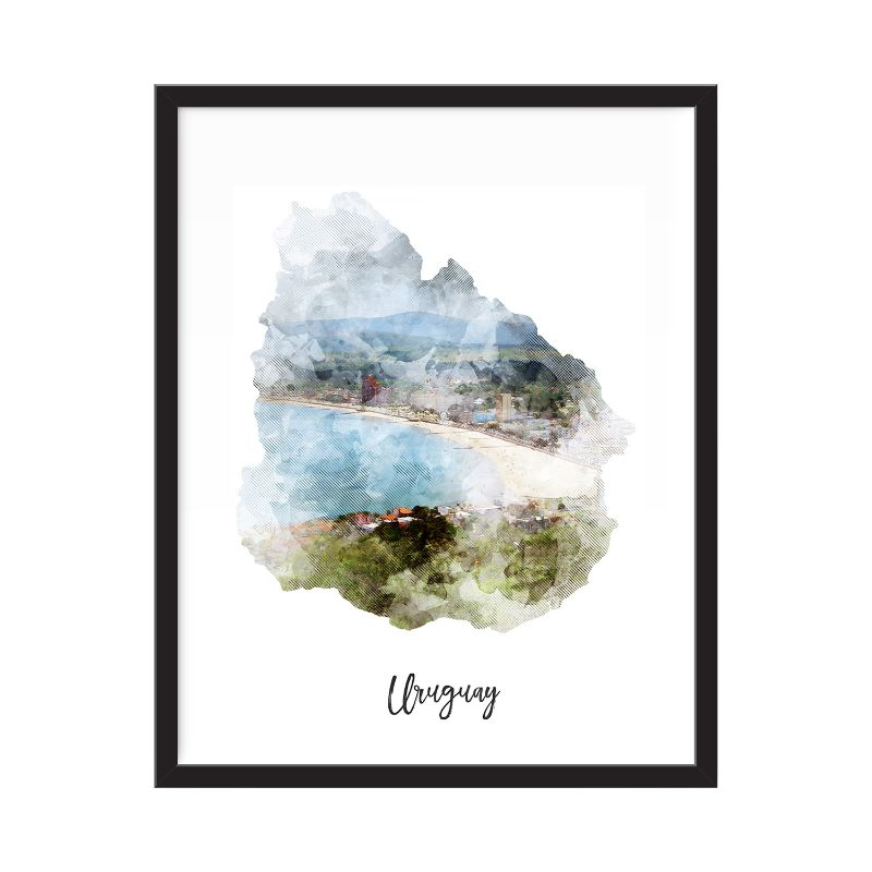 Uruguay carte aquarelle impression - sans cadre Art Print-Daily Steals