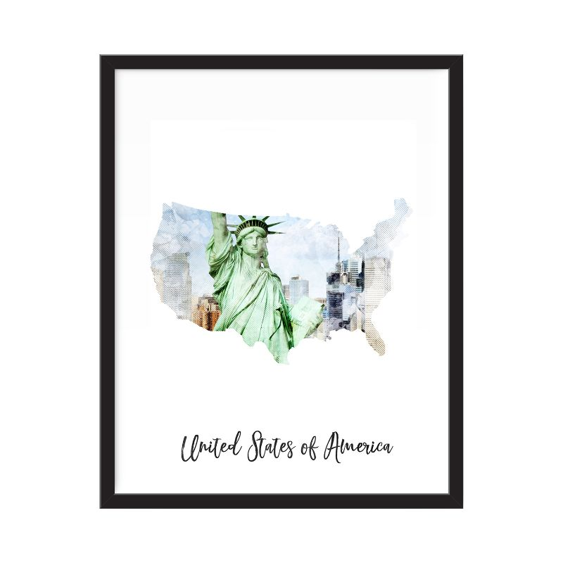 "United States Of America Watercolor Map Print - Unframed Art Print-11""x14""-Vertical/Portrait-Daily Steals"
