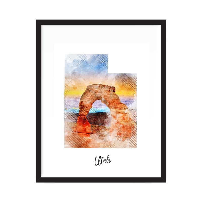 Utah aquarelle carte impression - sans cadre Art Print-Daily Steals