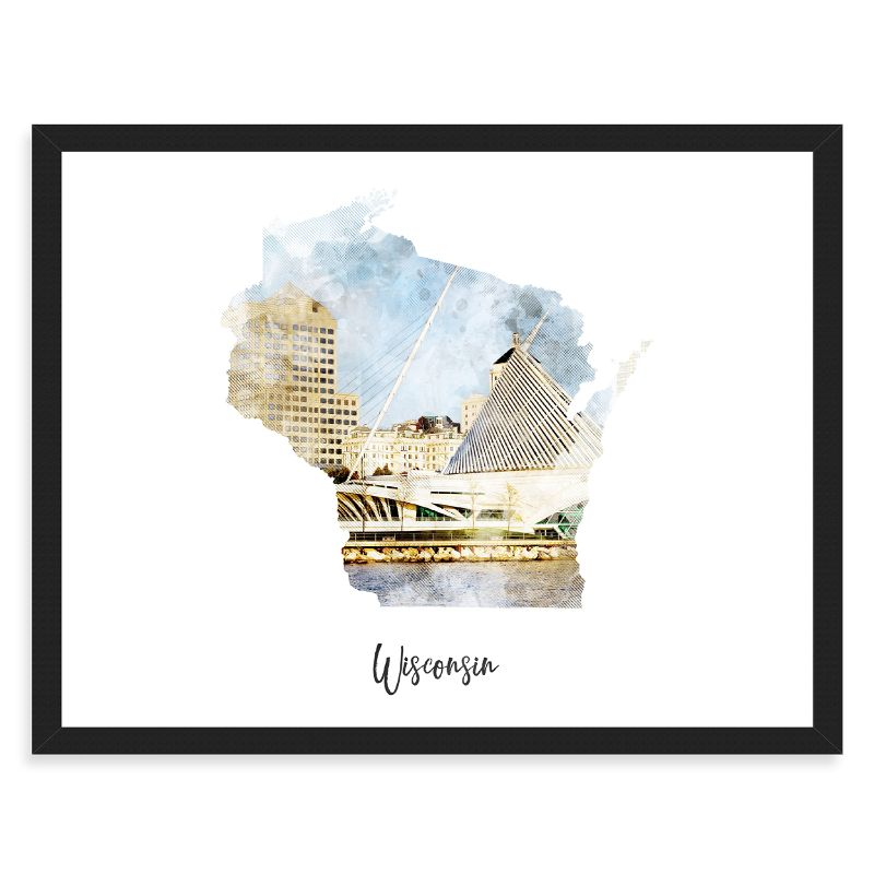 Wisconsin Watercolor Map Print - Unframed Art Print-Daily Steals