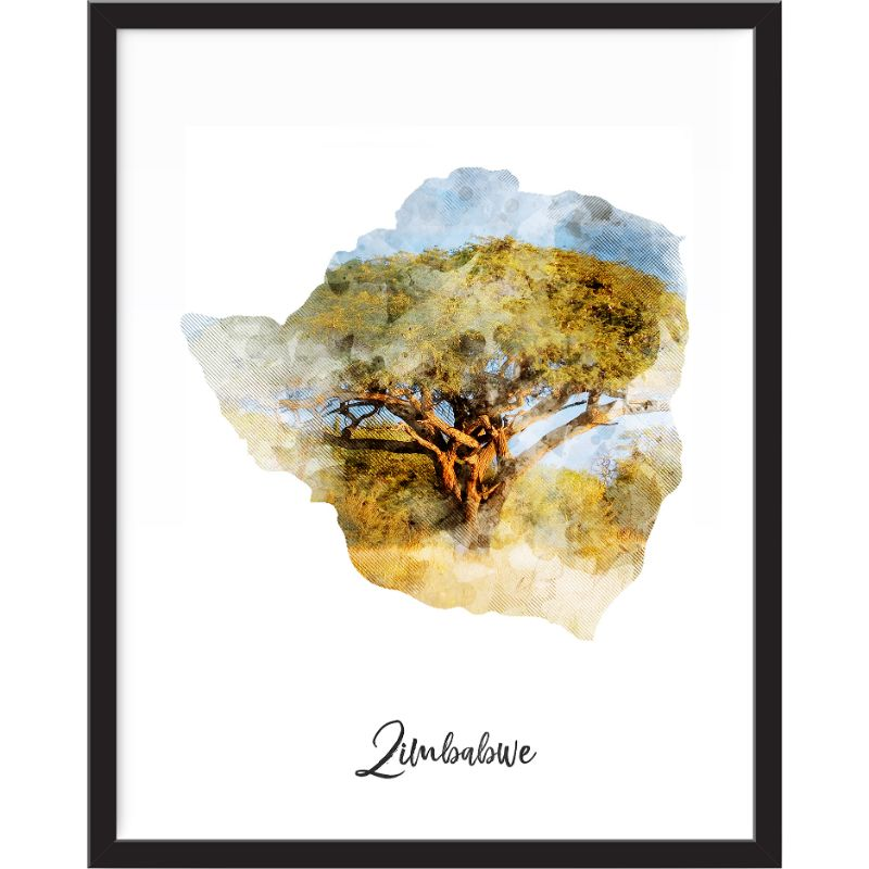 Zimbabwe Watercolor Map Print - Unframed Art Print-Daily Steals