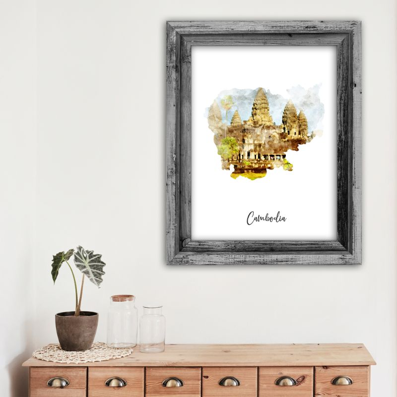 Cambodia Watercolor Map Print - Unframed Art Print