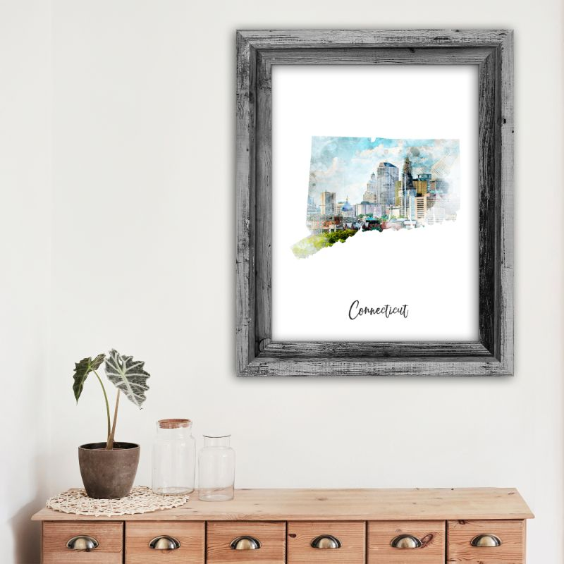 "Connecticut Watercolor Map Print - Unframed Art Print-11""x14""-Vertical/Portrait-Daily Steals"