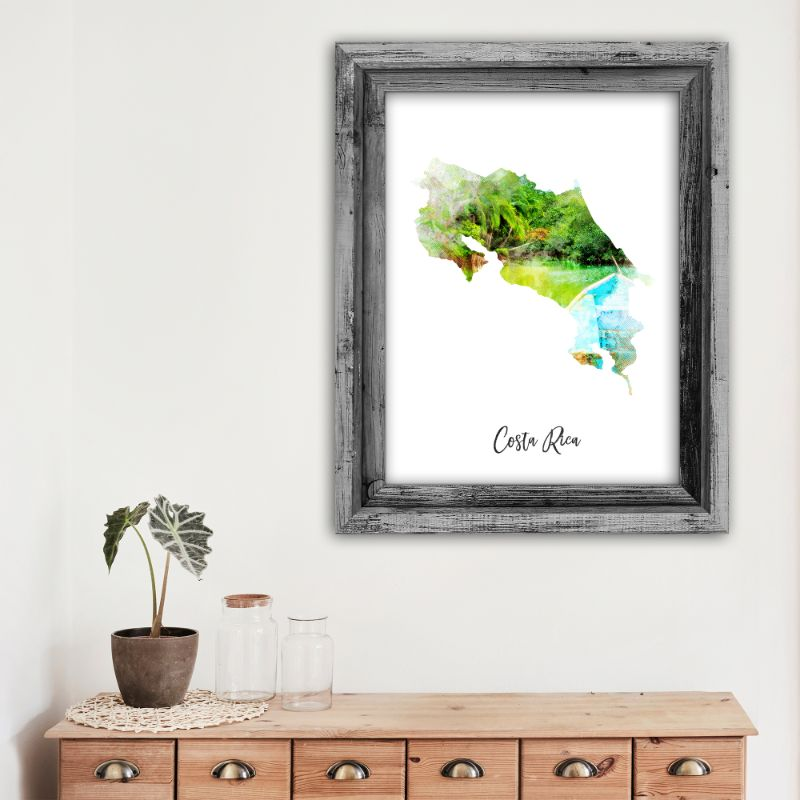 "Costa Rica Watercolor Map Print - Unframed Art Print-8""x10""-Vertical/Portrait-Daily Steals"