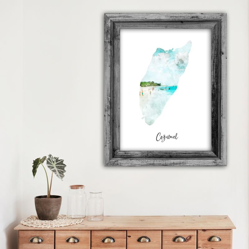 "Cozumel Watercolor Map Print - Unframed Art Print-12""x16""-Vertical/Portrait-Daily Steals"