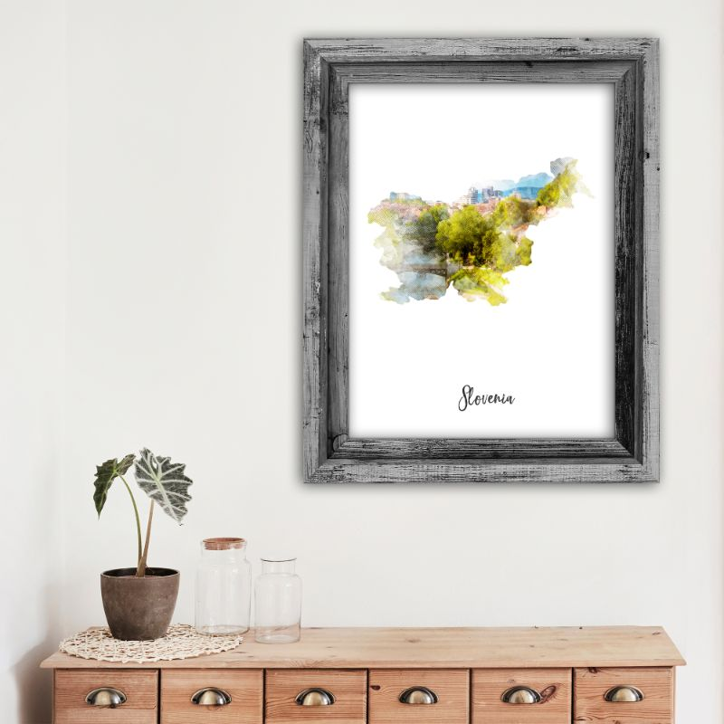 Slovenia Watercolor Map Print - Unframed Art Print