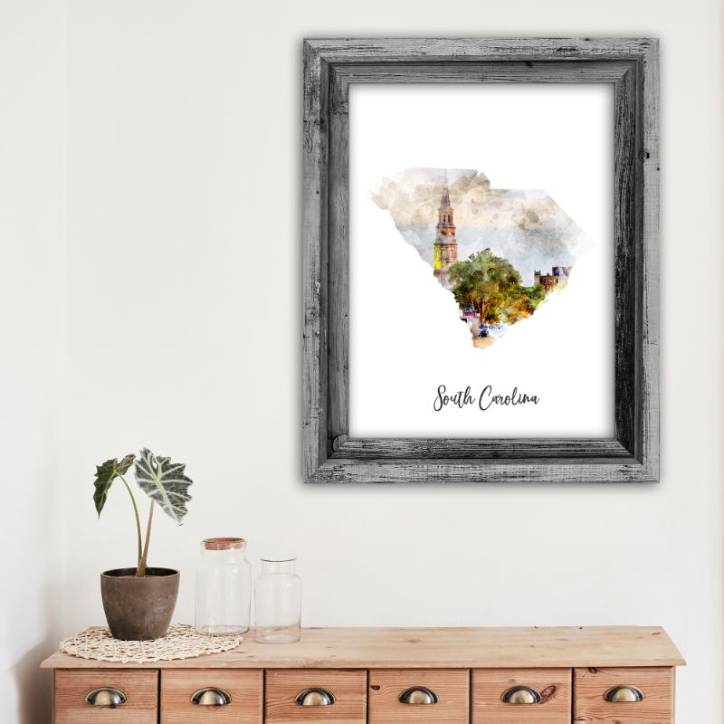 "South Carolina Watercolor Map Print - Unframed Art Print-12""x18""-Vertical/Portrait-Daily Steals"