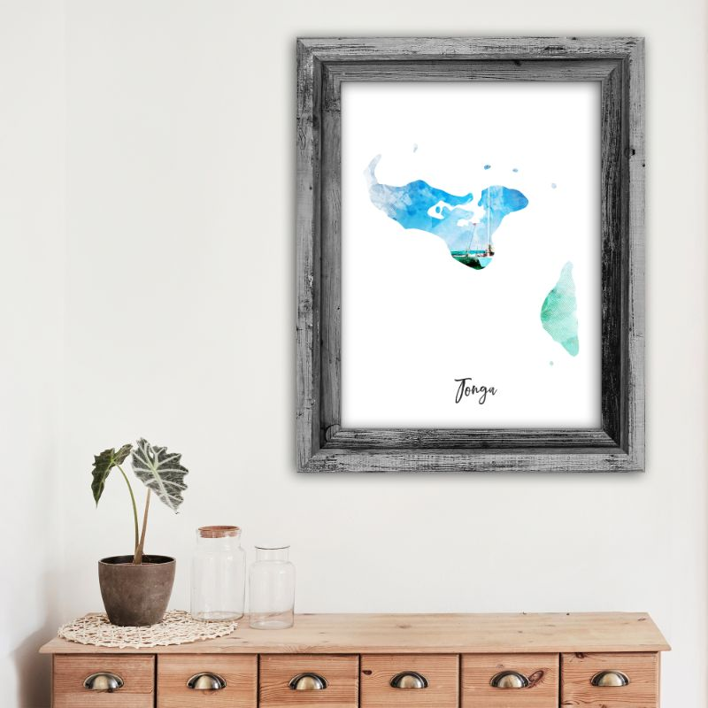 "Tonga Watercolor Map Print - Unframed Art Print-12""x18""-Vertical/Portrait-Daily Steals"