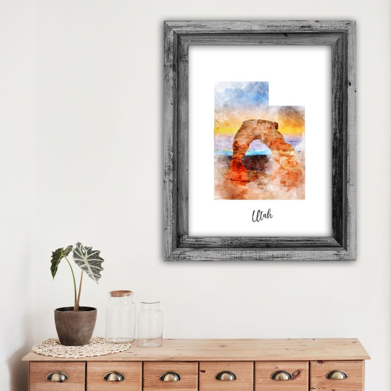 "Utah Watercolor Map Print - Unframed Art Print-8""x10""-Vertical/Portrait-Daily Steals"