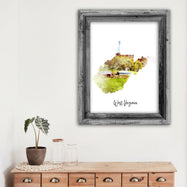"West Virginia Watercolor Map Print - Unframed Art Print-12""x18""-Vertical/Portrait-Daily Steals"