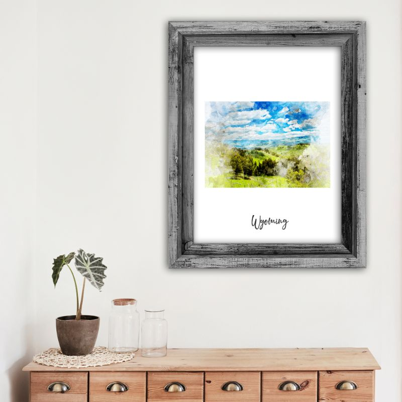 "Wyoming Watercolor Map Print - Unframed Art Print-13""x19""-Vertical/Portrait-Daily Steals"