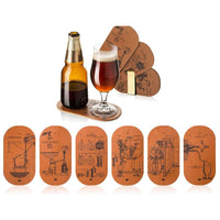 Vacu Vin Bottle and Glass Double Coasters - Set of 6