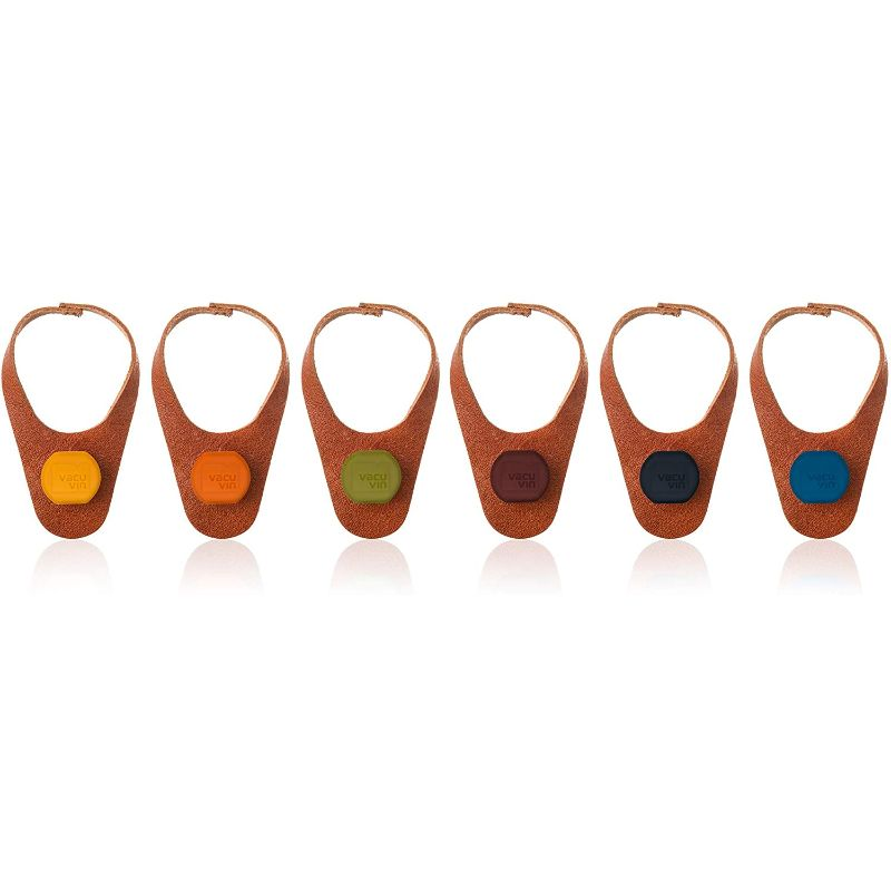 Vacu Vin Leather Bottle Marker and Stopper - Set of 6