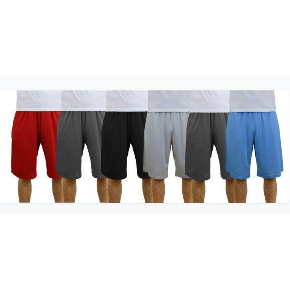Men's Moisture Wicking Shorts - 6 Pack-Red-Black-Charcoal-Silver-Charcoal-Light Blue-S-Daily Steals
