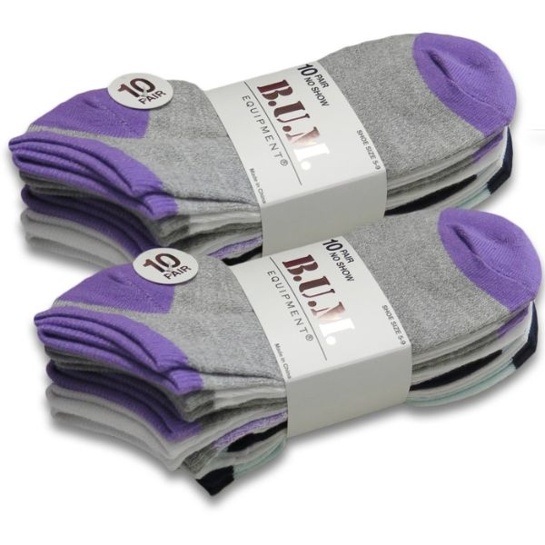 20-Pairs B.U.M. Women's Fashion No Show Low Cut Fun Ankle Socks-Purple/Teal-Daily Steals