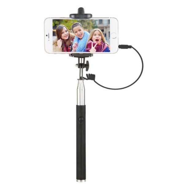 "Vivitar 42"" Selfie Stick with Built-In Shutter Release and Folding Clamp-Black-Daily Steals"