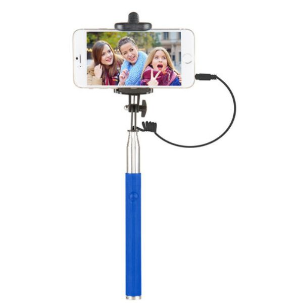 "Vivitar 42"" Selfie Stick with Built-In Shutter Release and Folding Clamp-Blue-Daily Steals"