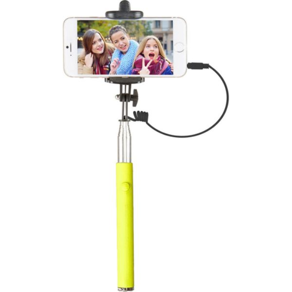 "Vivitar 42"" Selfie Stick with Built-In Shutter Release and Folding Clamp-Lime-Daily Steals"