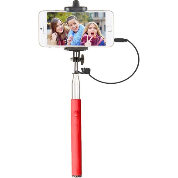 "Vivitar 42"" Selfie Stick with Built-In Shutter Release and Folding Clamp-Red-Daily Steals"