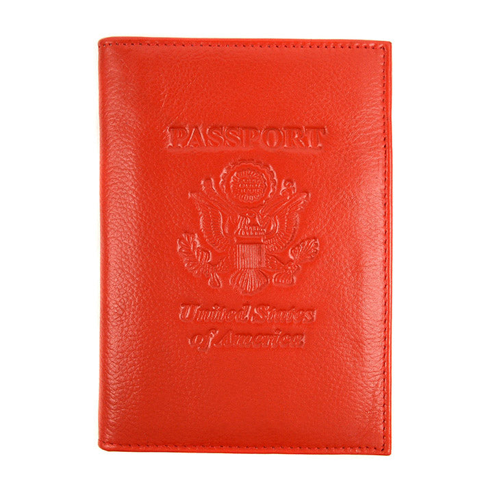 Genuine Leather American Eagle Embossed RFID-Blocking Passport Case-Red-Daily Steals