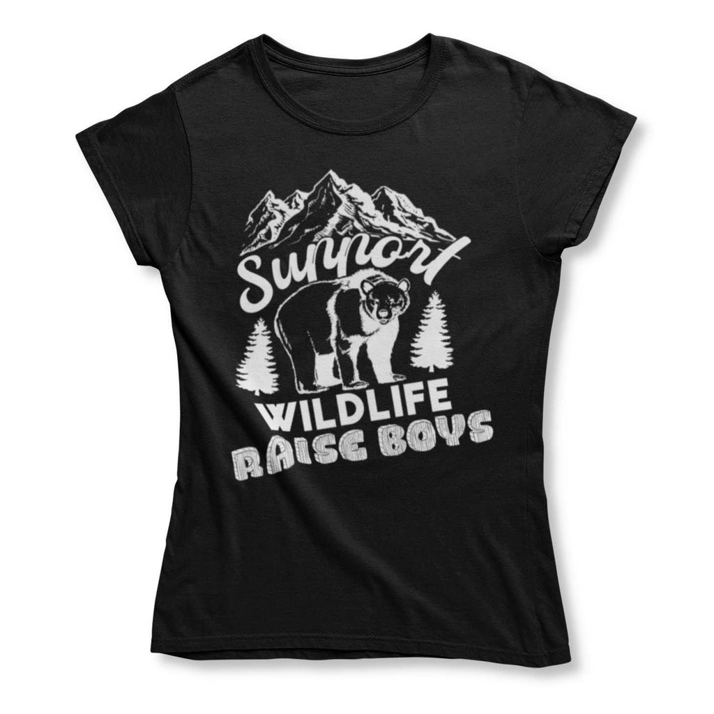 Women's Support Wildlife Raise Boys T-shirt-2X-Large-Daily Steals