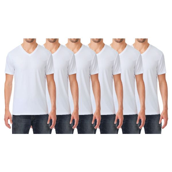 Men's Extra Soft Stretch Technology Premium Quality V-Neck Tees - 6 Pack-White x6-Small-Daily Steals