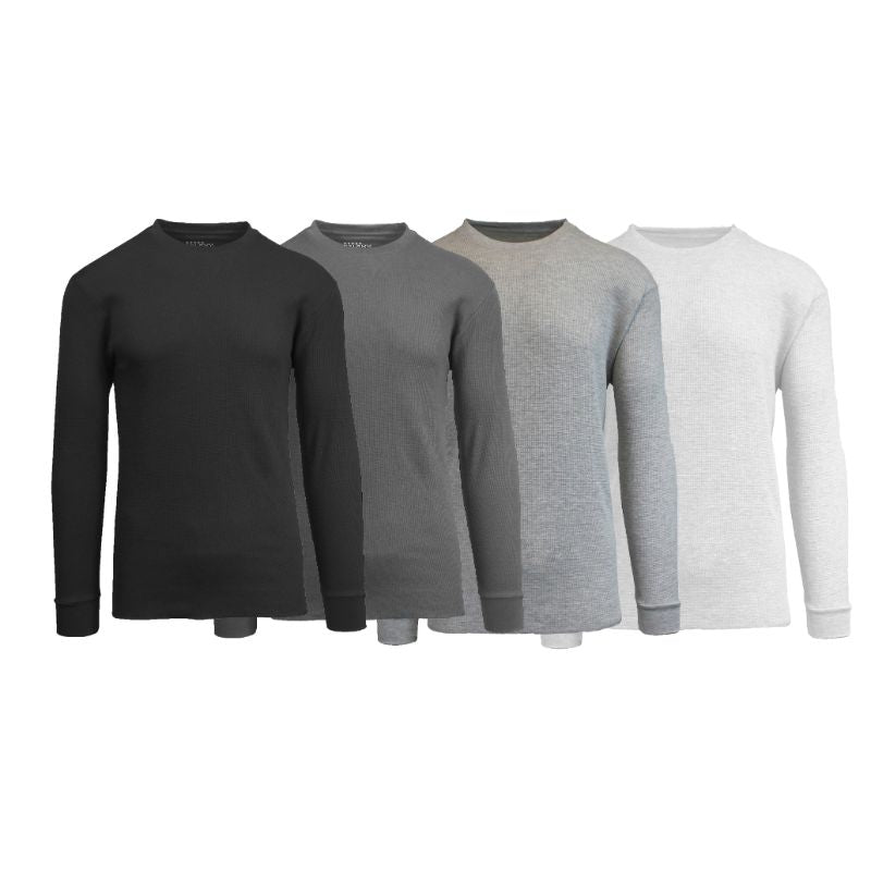 Men's Waffle Knit Thermal Long Sleeves - 4 Pack-Black-Charcoal-Heather Grey-White-S-Daily Steals