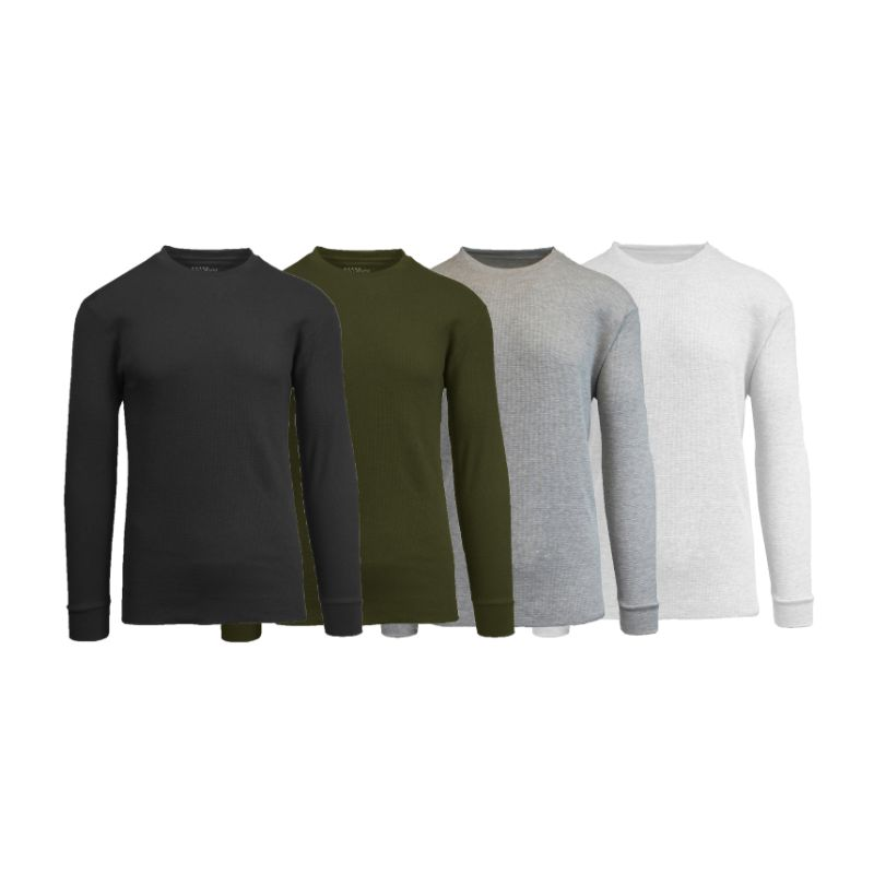 Men's Waffle Knit Thermal Long Sleeves - 4 Pack-Black-Olive-Heather Grey-White-S-Daily Steals