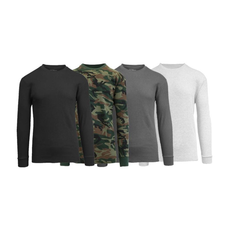 Men's Waffle Knit Thermal Long Sleeves - 4 Pack-Black-woodland-Charcoal-White-S-Daily Steals