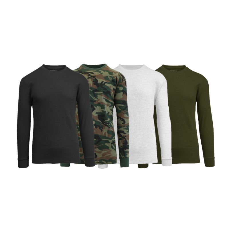 Men's Waffle Knit Thermal Long Sleeves - 4 Pack-Daily Steals