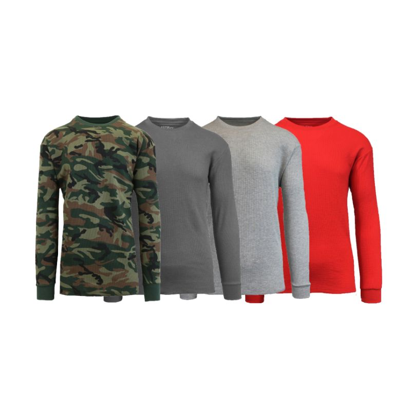 Men's Waffle Knit Thermal Long Sleeves - 4 Pack-Woodland-Charcoal-Heather Grey-Red-S-Daily Steals