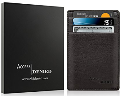 Access Denied Leather Credit Card Holder Wallet with RFID Blocking-Black-Daily Steals