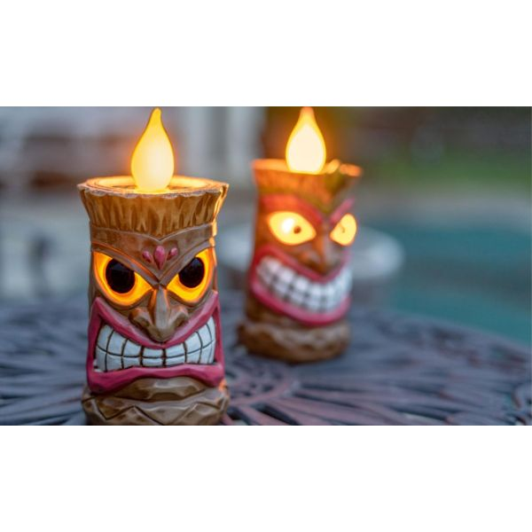 Touch Of ECO Solar LED Tiki Statue Decoración Luces - 1, 2 o 3 paquetes diarios