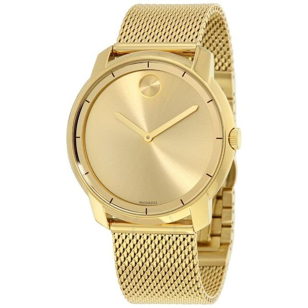 Movado Women's BOLD Thin Yellow Gold Watch with a Flat Dot Sunray Dial, Gold (Model 3600373)-Daily Steals