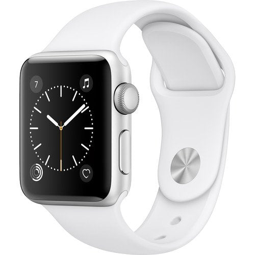 Apple Watch Series 2 38 or 42mm Aluminum Stainless Steel GPS Sport Band-Silver Case / White Band - Aluminum-38mm-Daily Steals
