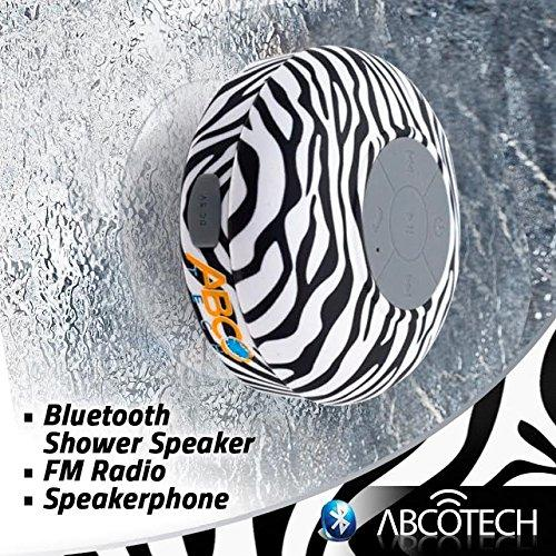 Daily Steals-Water Resistant Wireless Bluetooth Shower Speaker with Suction Cup and Hands-Free Speakerphone - Black Zebra-Speakers-