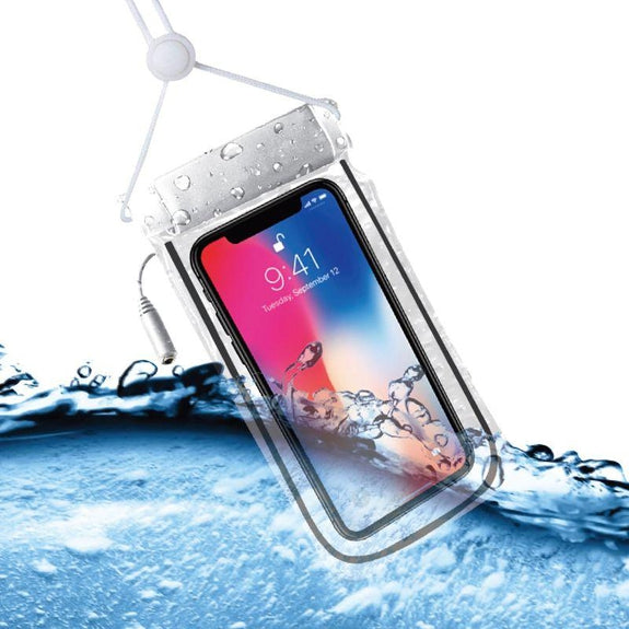 Waterproof Smartphone Pouch with Built-In Aux Input Jack - 2 Pack-