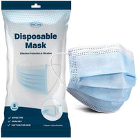 WeCare Disposable 3 Ply Face Masks With Elastic Earloops- 5 Pack-