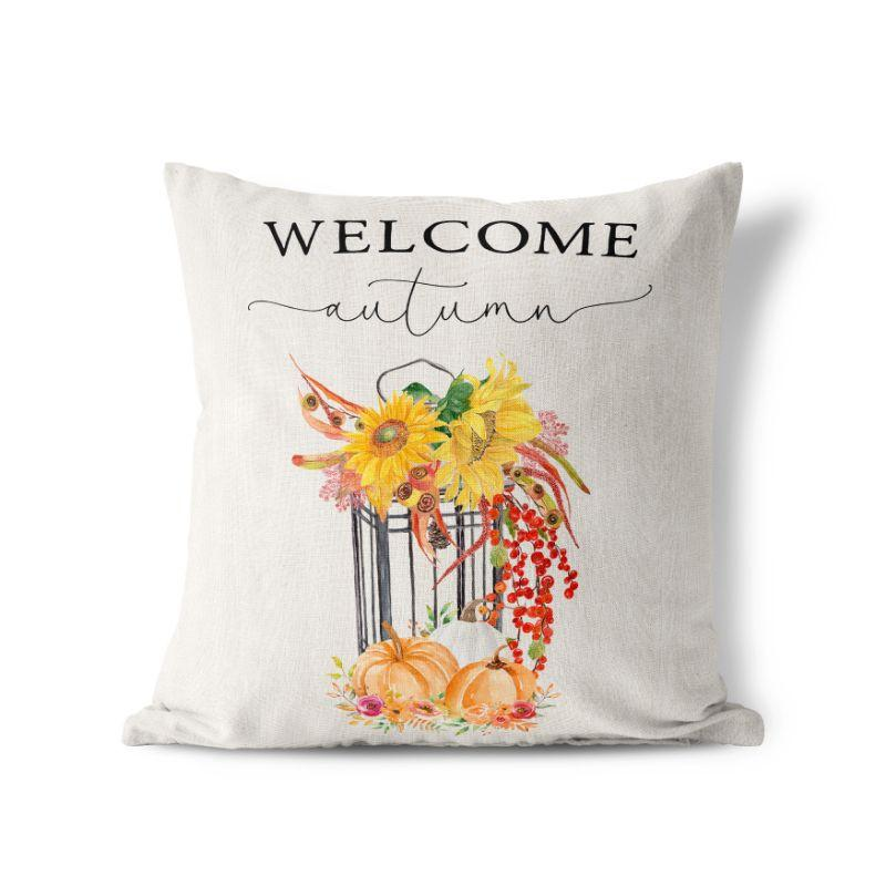 "Welcome Autumn - Square Pillow Cover - 17""x17""-"