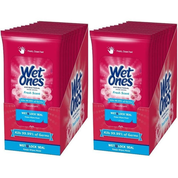 Wet Ones Antibacterial Hand Wipes - 20 Travel Packs, 20 Wipes Each (Total 400 Wipes)-